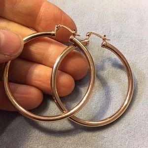 Jewelry - Large sterling - rose gold plated hoop earrings